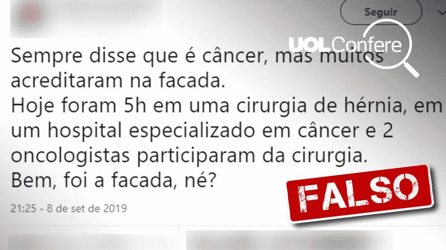 10.set.2019 - Post falso diz que Bolsonaro tem câncer e não levou facada - Arte/UOL