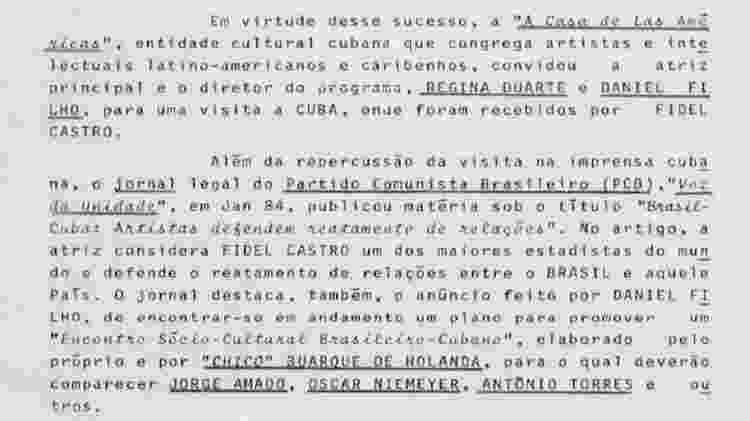 """Relatório reproduz entrevista de Regina ao jornal """"Voz da Unidade"""", do Partido Comunista Brasileiro - Reprodução/Arquivo Nacional"""