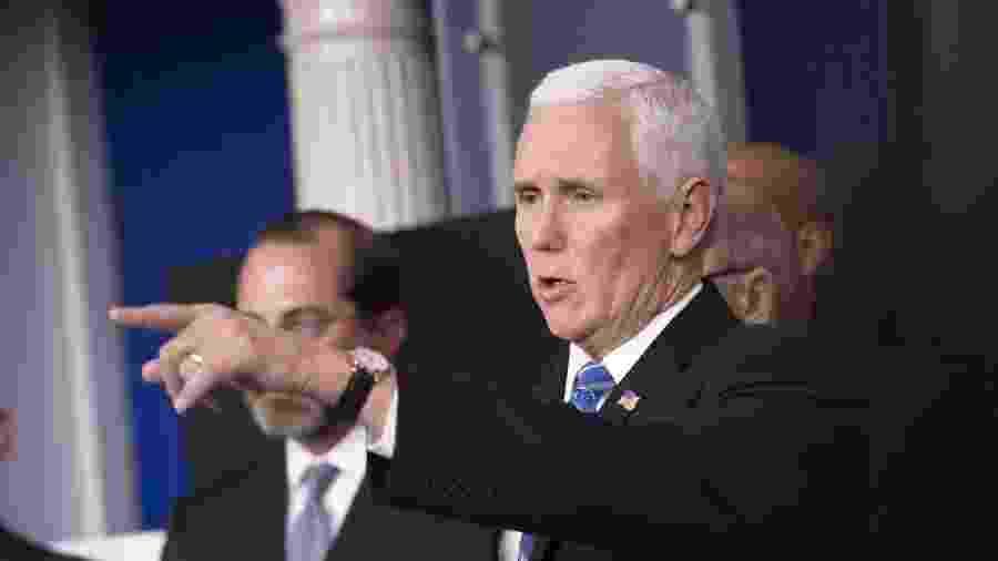 11.mar.2020 - O vice-presidente dos EUA, Mike Pence, durante coletiva de imprensa sobre o coronavírus na Casa Branca, em Washington D.C. - Xinhua/Liu Jie