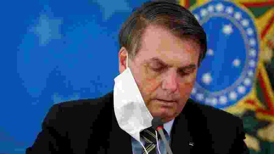 Presidente Jair Bolsonaro durante entrevista coletiva em Brasília -