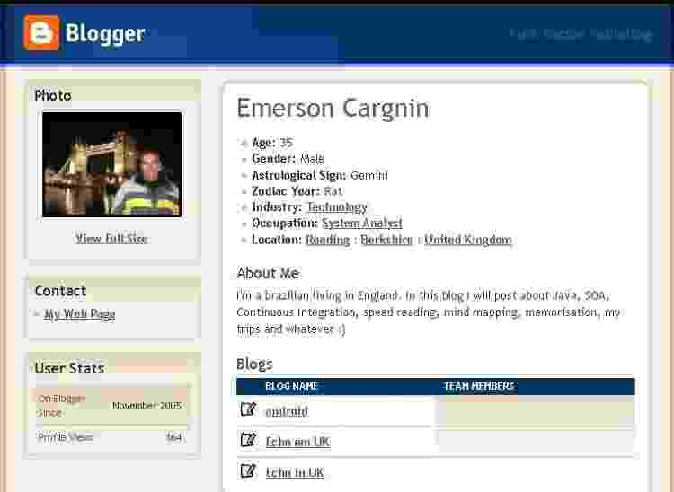 Perfil que comentava como administrador, arquivado pelo WebArchive em 2008 - Reprodução - Reprodução