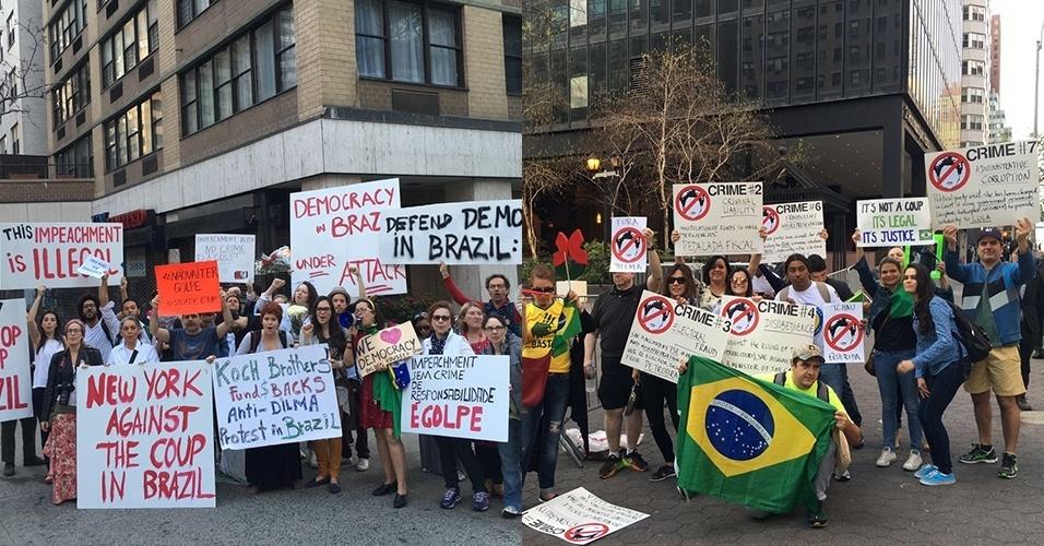 22.abr.2016 - Grupos contra e a favor do impeachment de Dilma Rousseff protestam em frente a sede das Nações Unidas, em Nova York (EUA), antes do discurso da presidente