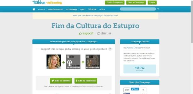 Campanha no site Twibbon contra a cultura do estupro já mobilizou mais de 400 mil pessoas