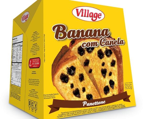 Panetone Village 500g banana com canela R$ 16,90