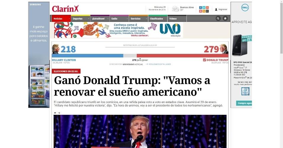 """09.nov.2016 - O jornal argentino Clarín destaca na manchete o discurso de Trump sobre a """"renovação do sonho americano"""""""