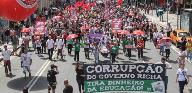 Curitiba: caminhada rumo à sede do governo estadual - Rodrigo Félix/Futura Press/Estadão Conteúdo