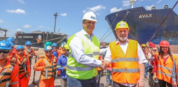 Lula e o governador Flávio Dino em visita ao porto de Itaqui (MA)