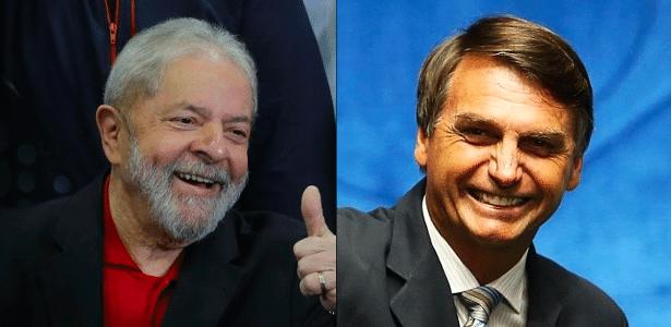 Montagem com fotos do ex-presidente Luiz Inácio Lula da Silva e do deputado federal Jair Bolsonaro