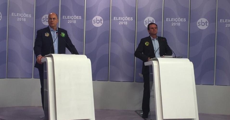 23.out.2018 - Wilson Witzel e Eduardo Paes participam do debate UOL, Folha e SBT