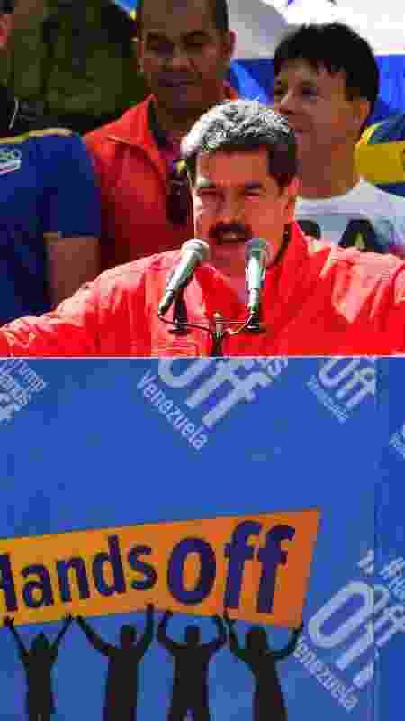 23.fev.19 - Maduro faz pronunciamento de Caracas para plateia de apoiadores - Yuri Cortez