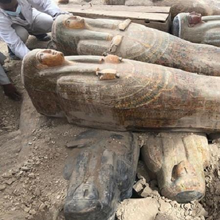 Sarcófagos encontrados no Egito - Divulgação/Ministério de Antiguidades do Egito