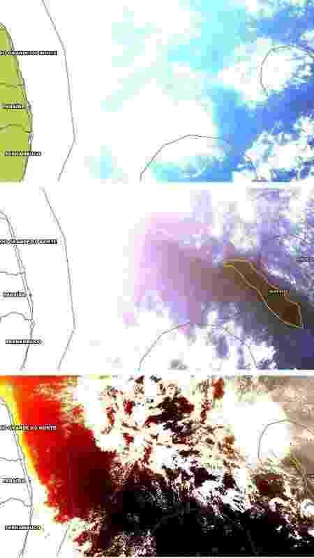 Imagens do oceano em 29.jul e nos dias seguintes; à esquerda, estados de RN, PB e PE - Divulgação/Hex