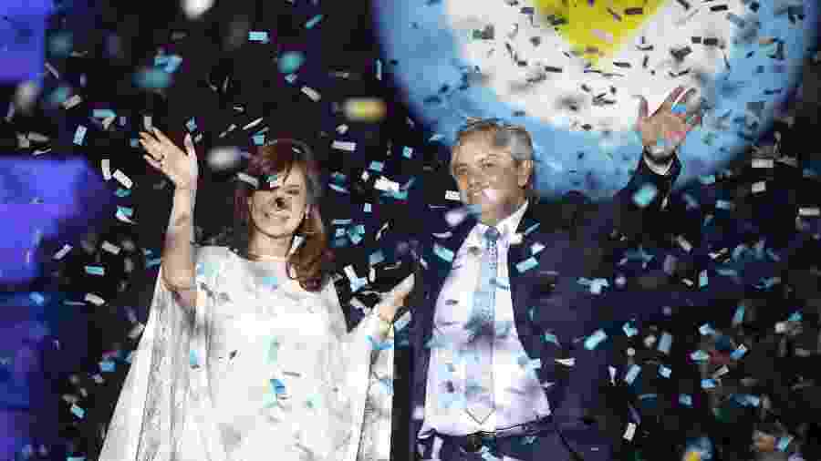 A vice Cristina Kirchner e o presidente da Argentina, Alberto Fernández, durante festa de posse em Buenos Aires (Xinhua/Martín Zabala) - Xinhua/Martín Zabala