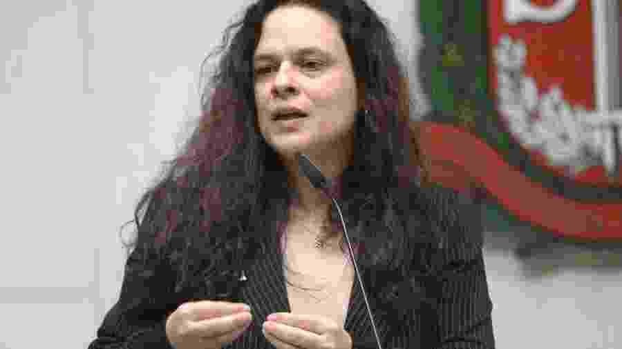 11.fev.2020 - A deputada estadual Janaina Paschoal (PSL-SP) em discurso na tribuna da Alesp (Assembleia Legislativa de São Paulo) - Maurício Garcia de Souza/Alesp
