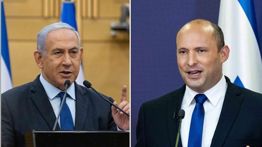 Primeiro-ministro Netanyahu e llíder de partido ultranacionalista Bennett trocaram farpas em mensagens televisionadas - PA Media