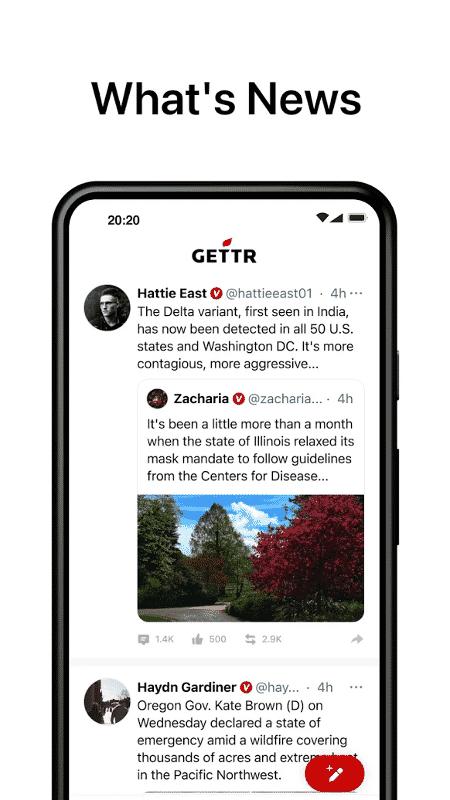 Tela do aplicativo Gettr - Reprodução - Reprodução