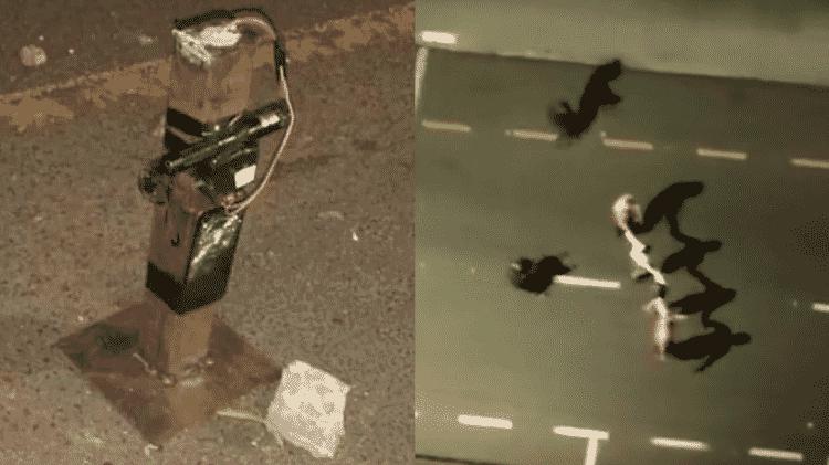 Imagens compartilhadas nas redes sociais mostram explosivos espalhados em pontos da cidade e moradores sendo usados como escudo pelos criminosos - Reprodução/Redes sociais - Reprodução/Redes sociais