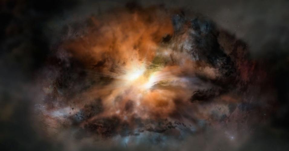 BRILHO EXTENUANTE - A galáxia mais luminosa conhecida no Universo ? o quasar W2246-0526 ? é tão turbulenta que está ejetando todo o gás existente em seu interior. Os quasares são galáxias distantes que possuem buracos negros supermassivos nos seus centros, os quais libertam jatos poderosos de partículas e radiação. Observações do ESO (Observatório Euroupeu do Sul) indicam que a intensa radiação infravermelha, que intensifica o brilho da W2246-0526, irá fazer desaparecer o gás interestelar da galáxia