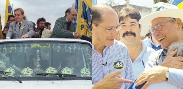 À esquerda, Serra participa de carreata com o apresentador Gugu Liberato, em 1996; à direita, Alckmin, candidato em 2000, aparece com seu padrinho político, Mário Covas - Arte/UOL