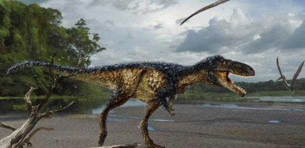 Reconstrução de fóssil de tiranossauro Timurlengia em ambiente há 90 milhões de anos