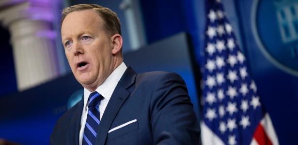 O secretário de imprensa dos EUA, Sean Spicer, durante discurso na Casa Branca
