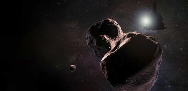 Uma renderização do artista da nave espacial New Horizons, passando por 2014 MU69, um objeto distante no cinturão Kuiper do Sistema Solar