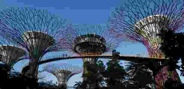 Kim Jong-Un visitou um parque à beira-mar com instalações futurísticas, o Gardens by the Bay - Edgar Su/Reuters