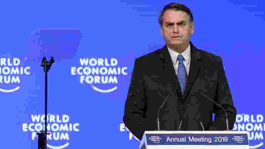 22.jan.2019 - Presidente Jair Bolsonaro discursa durante o Fórum Econômico Mundial de Davos, na Suíça - Fabrice COFFRINI / AFP