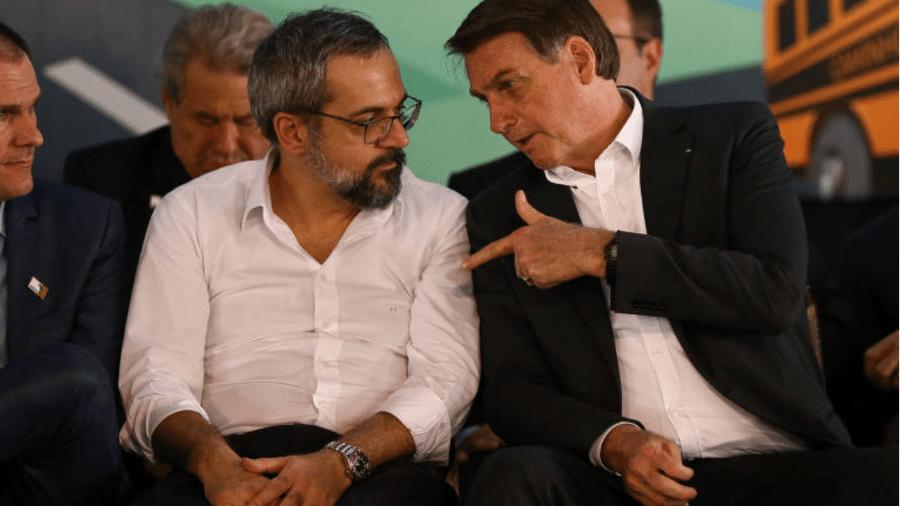 O ministro da Educação, Abraham Weintraub, e o presidente Jair Bolsonaro (sem partido) sentados lado a lado - Pedro Ladeira/Folhapress