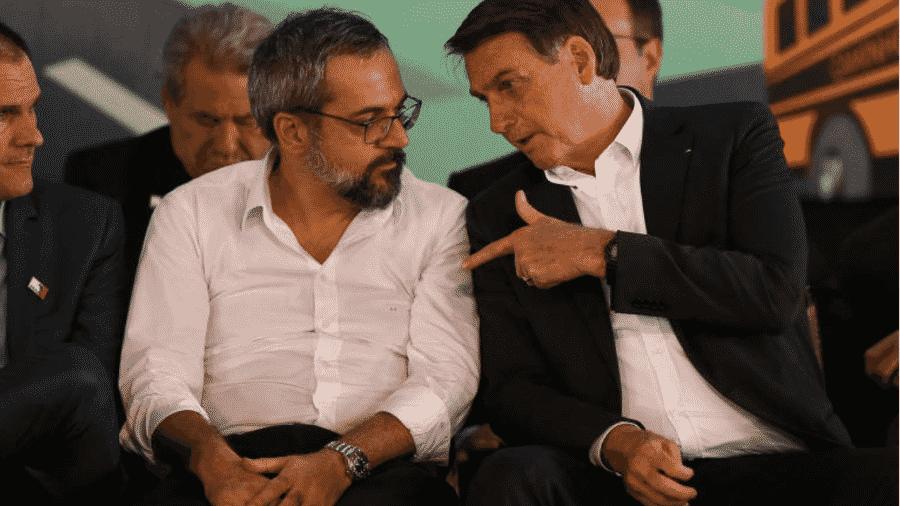Abraham Weintraub e Jair Bolsonaro sentados lado a lado - Pedro Ladeira/Folhapress