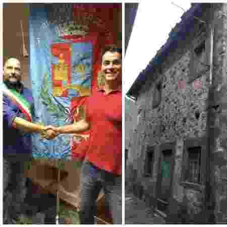 Roque (de vermelho), com o prefeito de Fabbriche de Vergemoli, Michele Giannini; e a fachada da casa que comprou por 1 euro - Arquivo Pessoal - Arquivo Pessoal