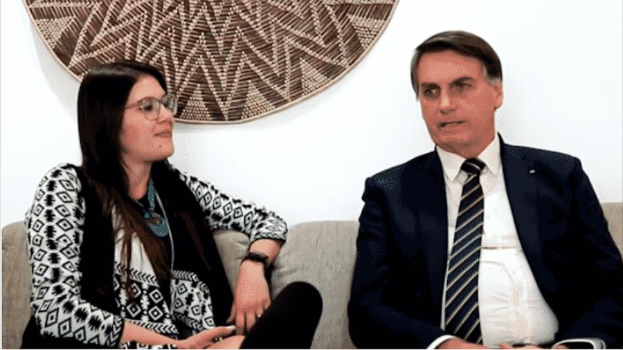 A youtuber Bárbara Zambaldi Destefani entrevista o presidente Bolsonaro dias antes de operação da PF no inquérito das fake news do STF - Reprodução