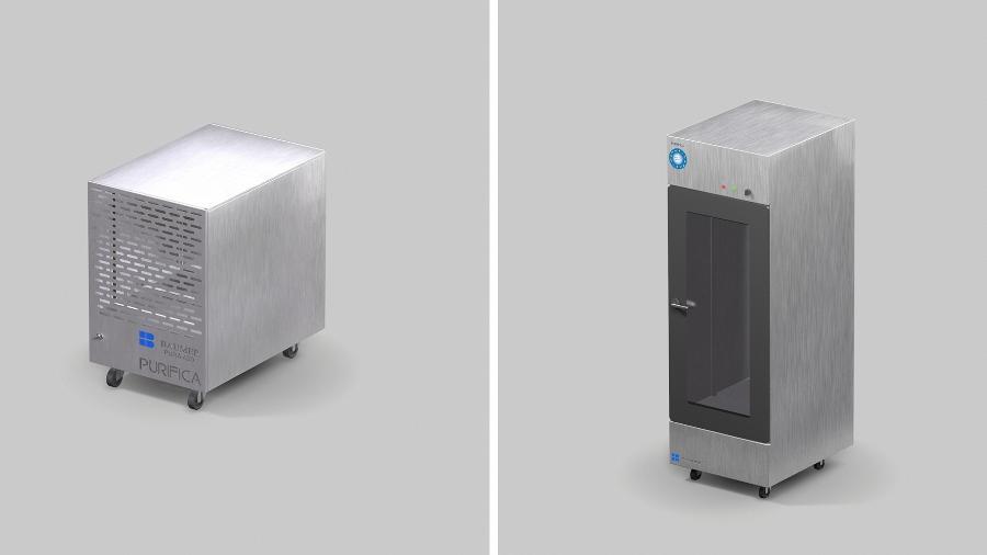 O esterilizador Purifica (à esq.) é um equipamento híbrido entre de purificação e esterilização; a cabine de desinfecção (à dir.) promete esterilizar roupas e acessórios com ozônio - Divulgação