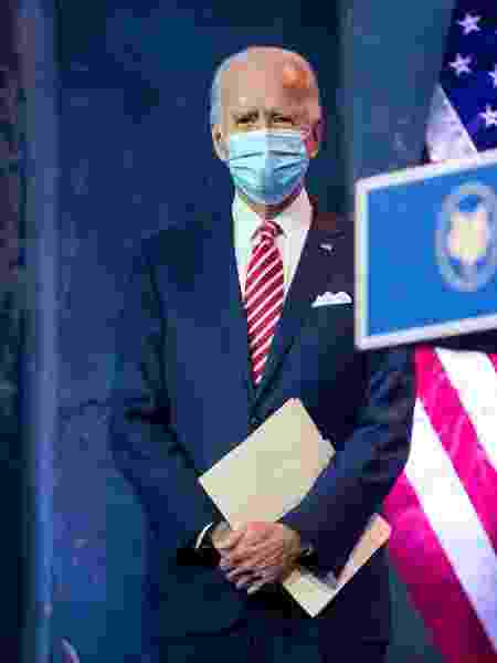 Presidente eleito Joe Biden acompanha discurso da vice Kamala Harris - Roberto Schmidt/AFP