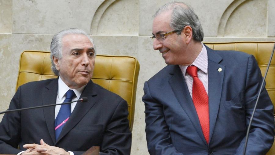 Michel Temer e Eduardo Cunha em 2015; ex-presidente da Câmara diz que Temer lutou pela queda de Dilma quando era vice-presidente da República  - Walter Campanato/AFP/Agência Brasil
