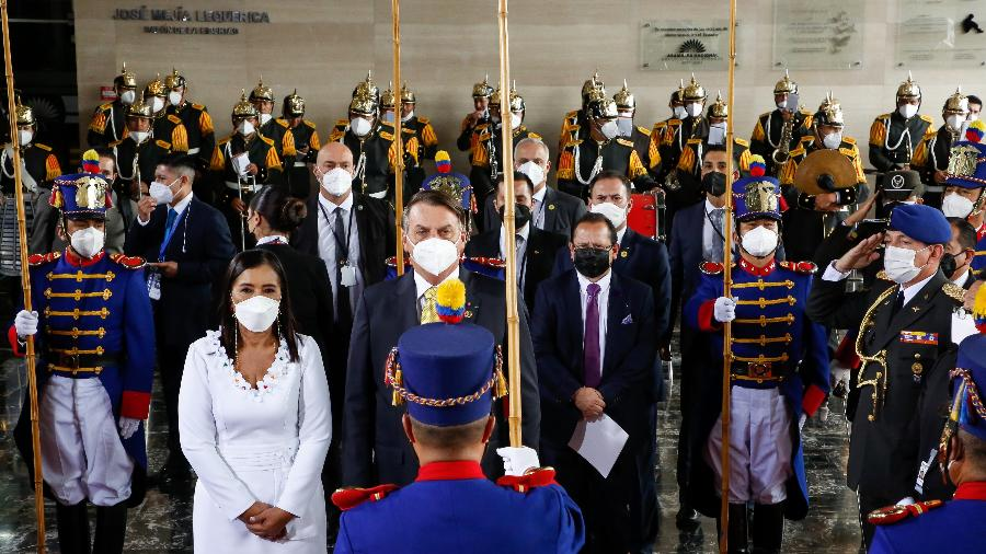 Bolsonaro na cerimônia de posse do presidente do Equador, Guillermo Lasso - Anderson Riedel/Presidência da Repúbçoca