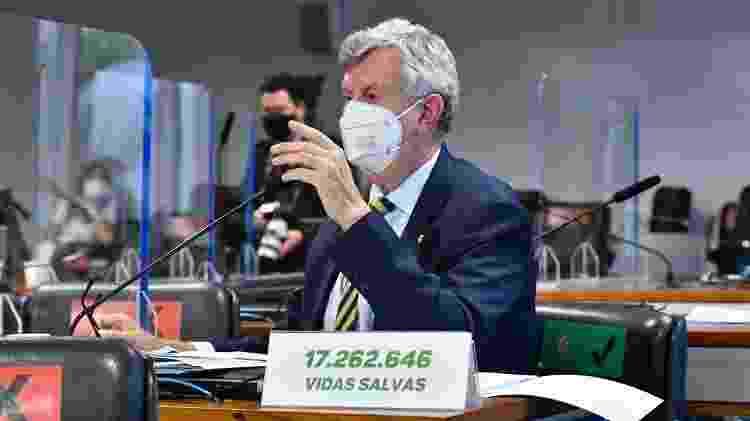 7.jul.2021 - Senador Luis Carlos Heinze (PP-RS), durante sessão da CPI da Covid - Waldemir Barreto/Agência Senado - Waldemir Barreto/Agência Senado