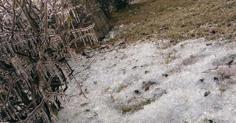 10.jun.2016 - A cidade de São Joaquim, na serra catarinense, registrou frio de -5,5ºC. O lago da praça João Ribeiro e algumas árvores ficaram congeladas