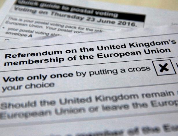 Ilustração da cédula de votação para o referendo no Reino Unido