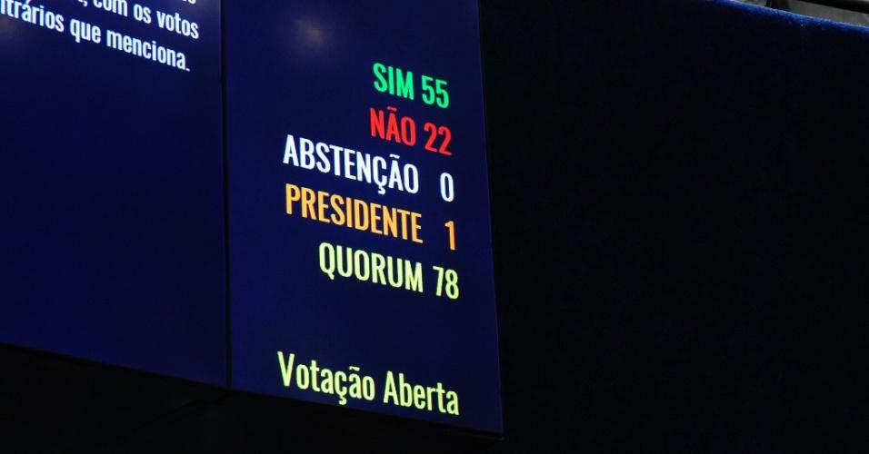 12.mai.2016 - Após mais de 20 horas de sessão, o Senado Federal aceitou o pedido de abertura do processo de impeachment da presidente Dilma Rousseff (PT), afastando-a por até 180 dias do Palácio do Planalto. Foram 55 votos a favor e 22 contra a admissibilidade do processo