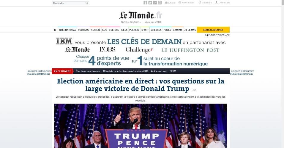 09.nov.2016 - O jornal francês Le Monde destaca em sua versão online a vitória de Donald Trump na disputa presidencial dos EUA