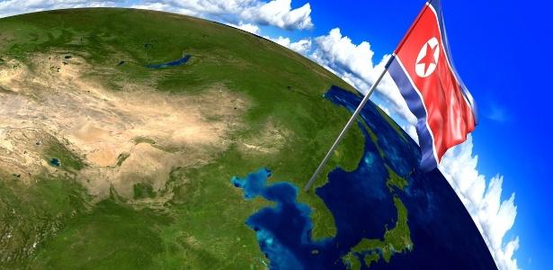 Bandeira da Coreia do Norte marca localização do país em um mapa mundial