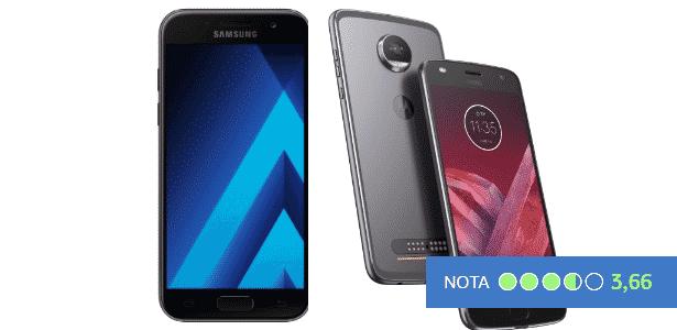 Galaxy A7 e Moto Z2 Play - nota do UOL Tecnologia - Arte/UOL - Arte/UOL