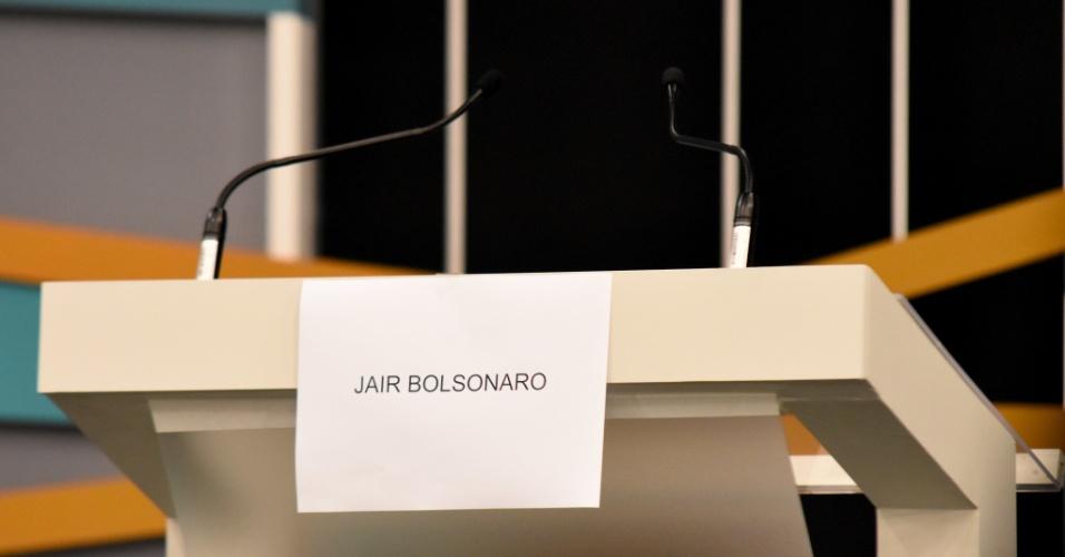 9.set.2018 -  Local destinado ao Candidato Jair Bolsonaro no debate com candidatos a Presidente do Brasil, TV Gazeta, Estadão, Jovem Pan, que acontece em São Paulo neste domingo (9)