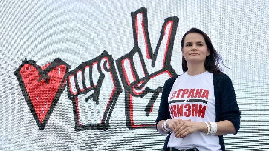 Svetlana Tikhanovskaya em campanha para a Presidência em Minsk, Belarus - 31.jul.2020 - Sergei Gabon/AFP