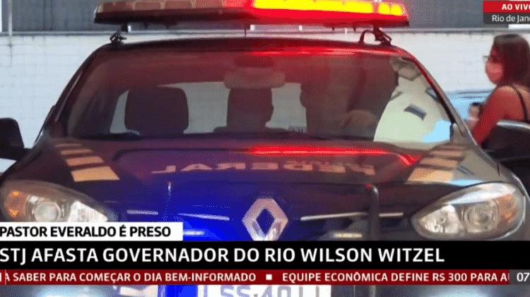 Momento em que o Pastor Everaldo é preso no Rio de Janeiro - Reprodução/GloboNews - Reprodução/GloboNews