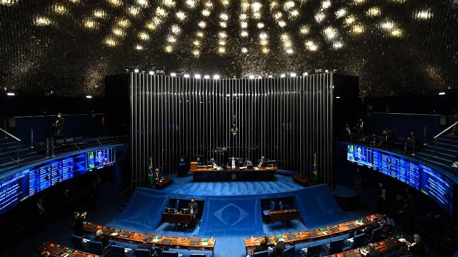 Senadores manifestaram solidariedade a Randolfe Rodrigues após a divulgação de conversa entre Jair Bolsonaro e Jorge Kajuru - MATEUS BONOMI/ESTADÃO CONTEÚDO