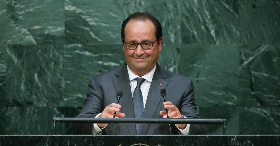 28.set.2015 - O presidente da França, François Hollande, discursa durante Assembleia Geral das Nações Unidas em Nova York, nos Estados Unidos. Hollande engrossou o coro de críticas ao regime do sírio Bashar al-Assad e fez afirmações duras contra o ditador