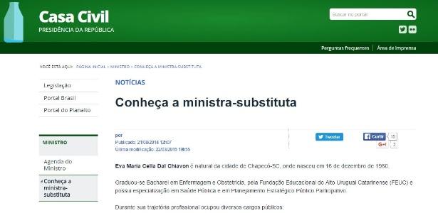 Site da Casa Civil foi atualizado com nome de ministra-substituta