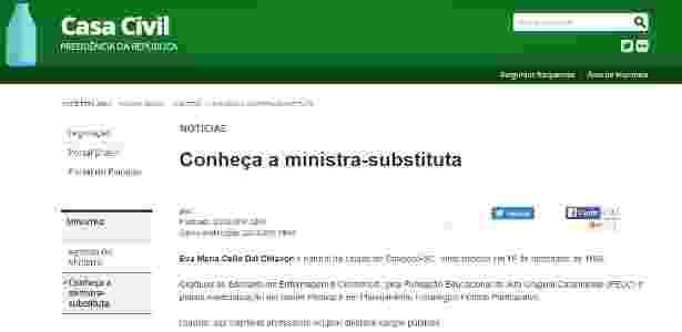 Site da Casa Civil foi atualizado com nome de ministra-substituta - Reprodução